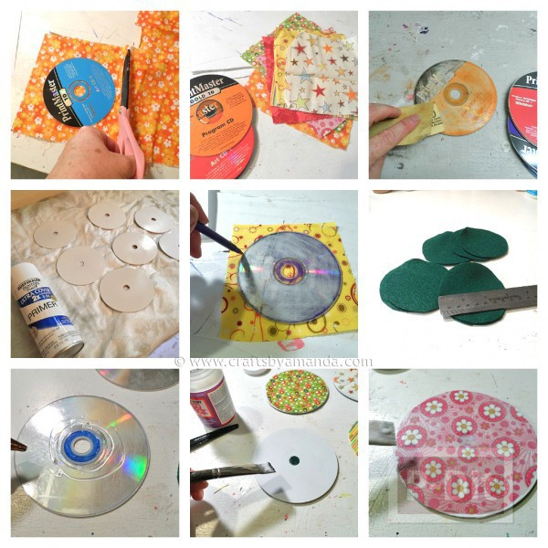 รูป 2 จานรองแก้ว ประดิษฐ์จากแผ่น CD