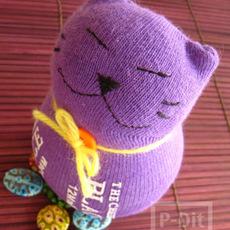ตุ๊กตาแมว ทำจากถุงเท้า