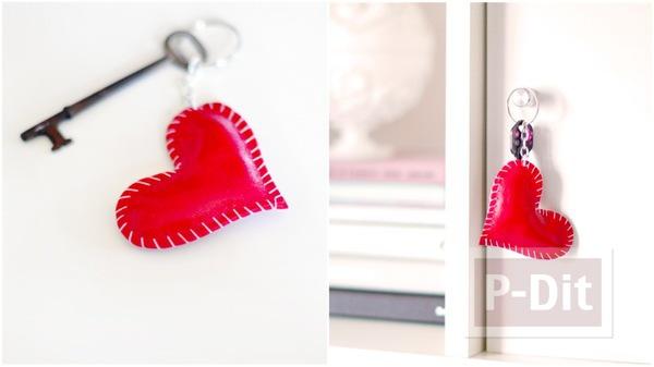 รูป 1 พวงกุญแจหัวใจ ทำจากหนังสีแดงสด