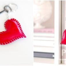 พวงกุญแจหัวใจ ทำจากหนังสีแดงสด