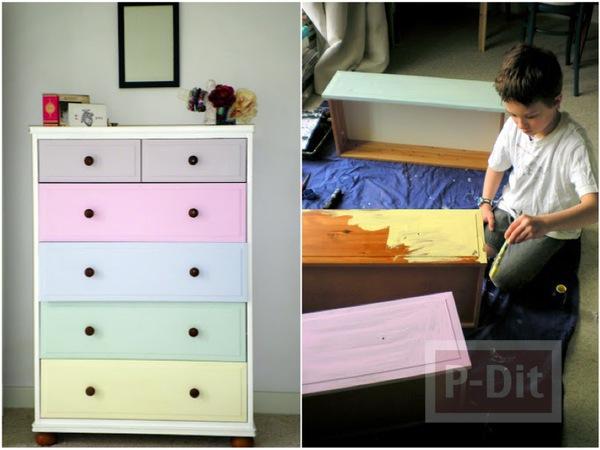 ทาสีตู้สีใหม่ ให้เป็นสีหวานประดับห้องนอน