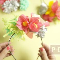 ที่คาดผม ตกแต่งด้วยดอกไม้กระดาษ