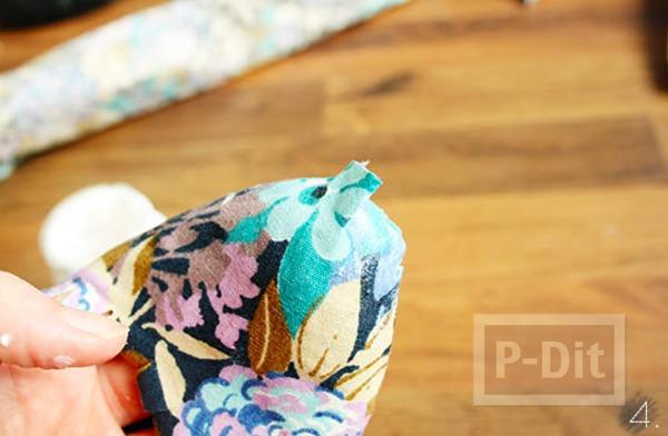 รูป 6 รองเท้าเก่าๆ นำมาหุ้มใหม่ ด้วยผ้าสีสด