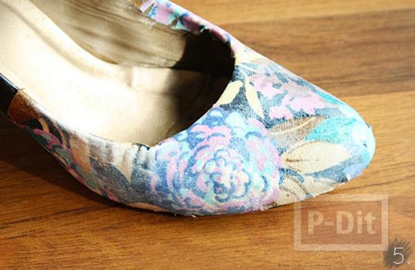 รูป 7 รองเท้าเก่าๆ นำมาหุ้มใหม่ ด้วยผ้าสีสด