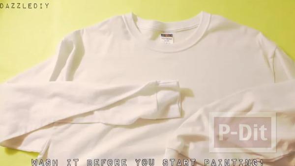 รูป 4 เสื้อยืดสีขาว วาดลายสวย จากพู่กัน