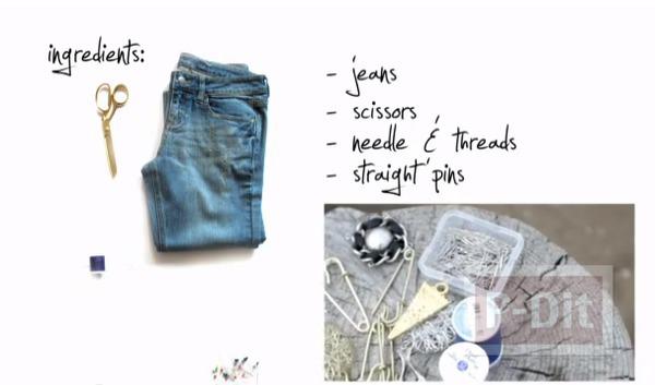 รูป 3 กระเป๋าสะพาย ทำจากกางเกงยีนส์