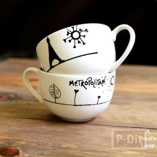 ถ้วยกาแฟ ตกแต่งลายสวยๆ ด้วยสีเมจิก