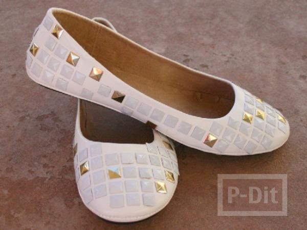 รองเท้าปักหมุด สีเงิน - ทอง