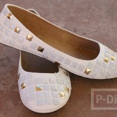 รองเท้าปักหมุด สีเงิน – ทอง