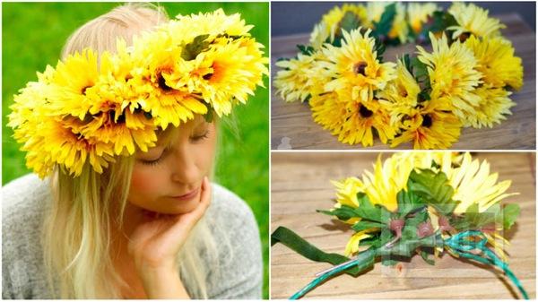 สอนทำมงกุฎดอกไม้ ดอกทานตะวัน