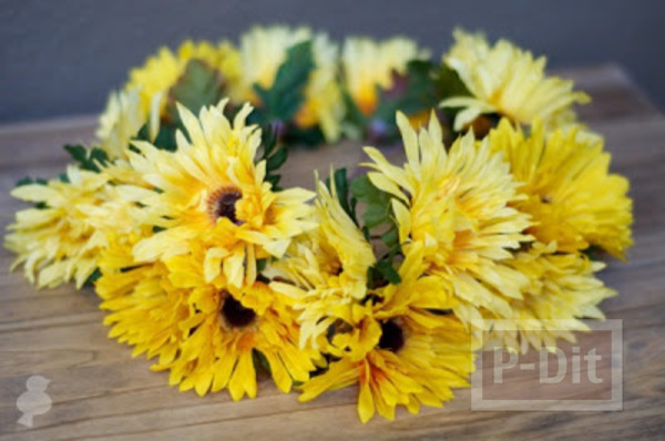 รูป 2 สอนทำมงกุฎดอกไม้ ดอกทานตะวัน