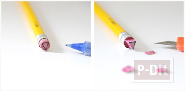 รูป 7 ลายปั้มสามเหลี่ยม ทำจากยางลบก้นดินสอ