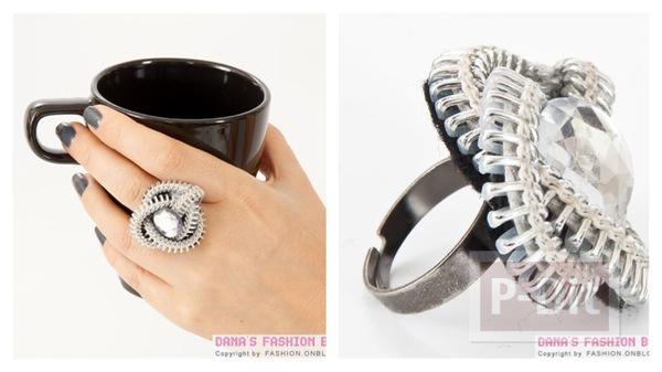 แหวน ประดิษฐ์จากซิป และเม็ดคริสตัล