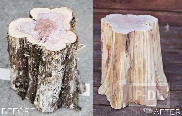 โต๊ะวางของ ทำจากตอไม้แห้ง