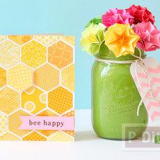 การ์ด ดอกไม้ ประดิษฐ์จากรูปหกเหลี่ยม