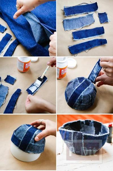 รูป 2 ชามใส่ของกระจุกกระจิก ทำจากผ้ายีนส์