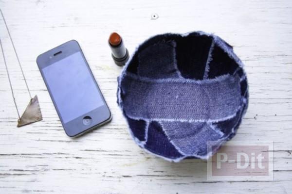 รูป 3 ชามใส่ของกระจุกกระจิก ทำจากผ้ายีนส์