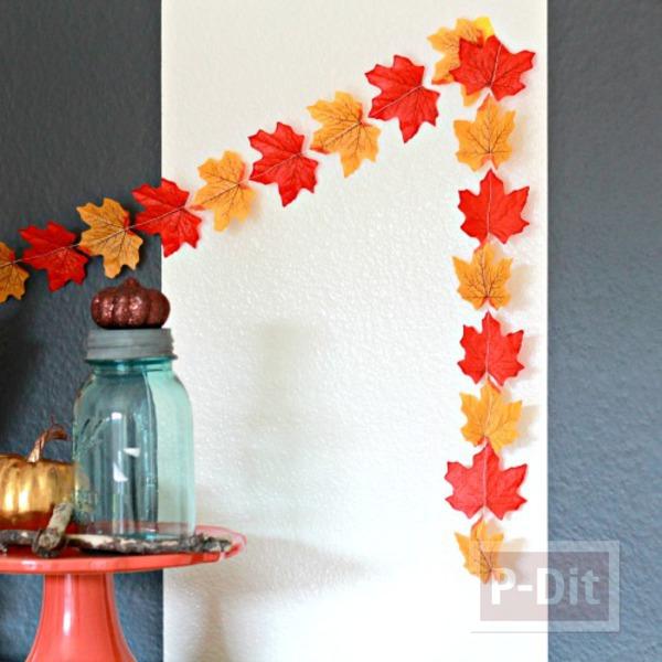 รูป 1 ของตกแต่งบ้าน ทำจากใบไม้สีสวย
