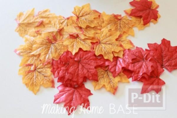รูป 3 ของตกแต่งบ้าน ทำจากใบไม้สีสวย
