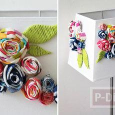 โคมไฟตั้งโต๊ะ ตกแต่งด้วยดอกไม้ผ้า