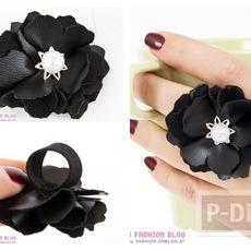แหวนดอกไม้ ทำจากแผ่นหนัง