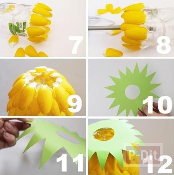 รูป 3 โคมไฟสัปปะรด ทำจากช้อนพลาสติก ขวดพลาสติก