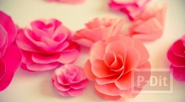 ดอกกุหลาบแสนสวย ทำจากกระดาษระบายสีน้ำ