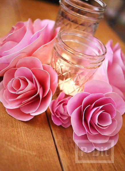 รูป 2 ดอกกุหลาบแสนสวย ทำจากกระดาษระบายสีน้ำ