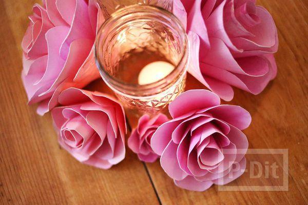 รูป 3 ดอกกุหลาบแสนสวย ทำจากกระดาษระบายสีน้ำ