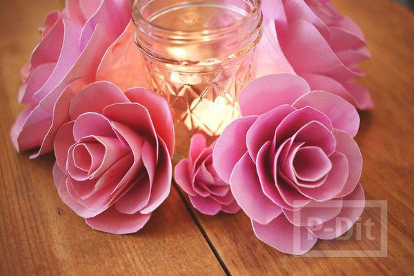 รูป 4 ดอกกุหลาบแสนสวย ทำจากกระดาษระบายสีน้ำ