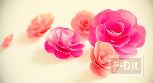รูป 5 ดอกกุหลาบแสนสวย ทำจากกระดาษระบายสีน้ำ