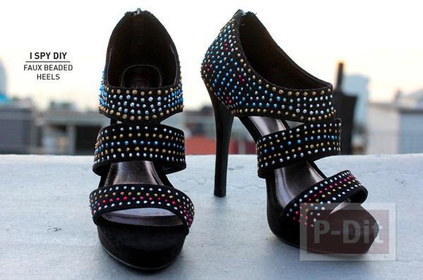 รูป 1 รองเท้ารัดส้น ตกแต่งประดับเม็ด สีสวย