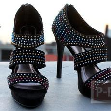 รองเท้ารัดส้น ตกแต่งประดับเม็ด สีสวย