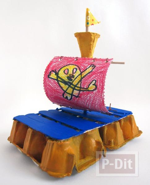 รูป 1 เรือโจรสลัด ทำจากรังไข่ กระดาษ