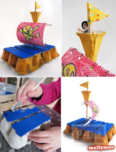 รูป 2 เรือโจรสลัด ทำจากรังไข่ กระดาษ