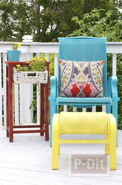 รูป 5 พ่นสีโต๊ะสีทึบ ในสวนหลังบ้าน ให้สีสวยสดใส น่านั่ง