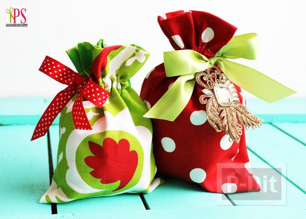 รูป 1 ถุงของขวัญวันคริสต์มาส ปีใหม่ สีเขียวแดง สีสด ทำเอง