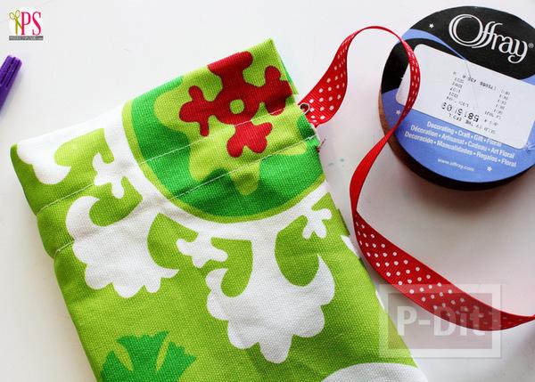 รูป 5 ถุงของขวัญวันคริสต์มาส ปีใหม่ สีเขียวแดง สีสด ทำเอง