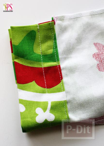 รูป 6 ถุงของขวัญวันคริสต์มาส ปีใหม่ สีเขียวแดง สีสด ทำเอง
