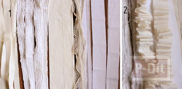 รูป 3 โคมไฟเศษผ้า ตกแต่งบนตะแกรง