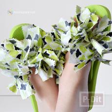 รองเท้าแตะ ตกแต่งเศษผ้า สีสดใส