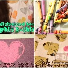 เพ้นท์เสื้อลายหัวใจ จากกระดาษทรายและสีเทียน