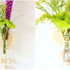 แจกันดอกไม้ ติดผนัง ตกแต่งจากไม้