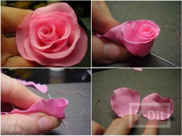 ประดิษฐ์ดอกไม้ จากผ้าบางๆ สีชมพู