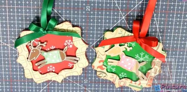 รูป 2 การ์ดเล็กๆ ประดับกล่องของขวัญ วันคริสต์มาส