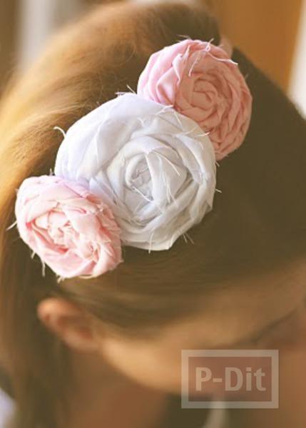 ที่คาดผมลายดอกไม้ประดิษฐ์ทำเอง จากเศษผ้า