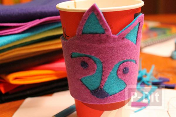 ประดิษฐ์ผ้าใส่แก้วกาแฟ ลายหมาจิ้งจอก