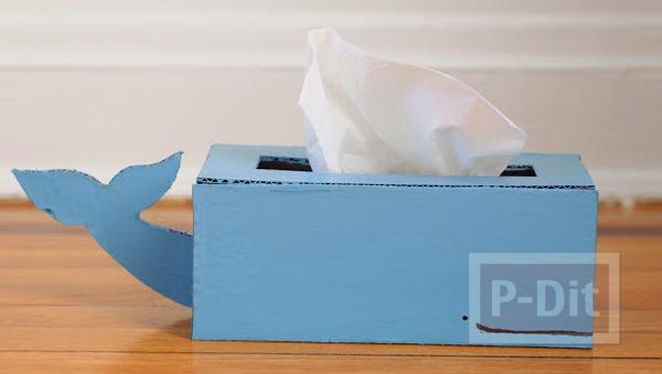 กล่องใส่กระดาษทิชชู ทำเอง น่ารัก ลายช้างสีฟ้า