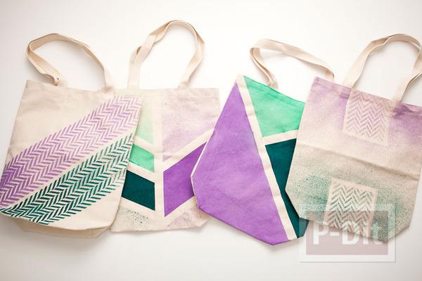ถุงผ้า ตกแต่งลายสวย จากสีสเปรย์