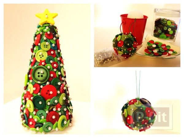 รูป 1 ของตกแต่งวันปีใหม่ คริสต์มาส ลูกบอลกระดุม + ต้นคริสต์มาส